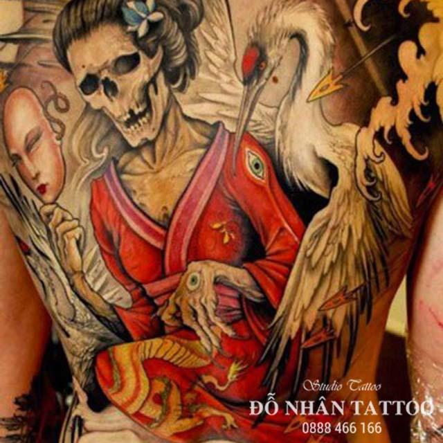 Hình xăm Geisha mặt quỷ Nhật Bản