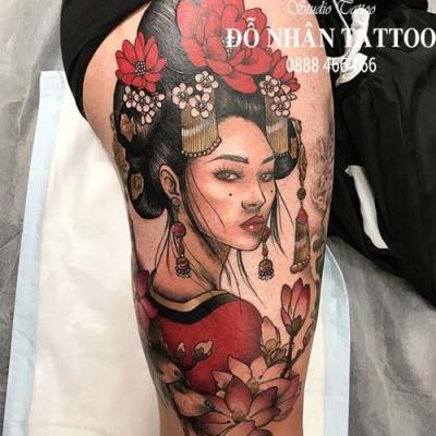 Hình xăm cô gái nhật geisha 1