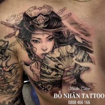 Hình xăm cô gái nhật geisha 21