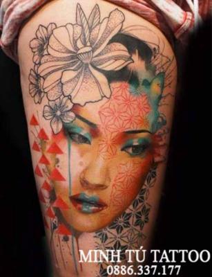 Hình xăm cô gái nhật geisha 26