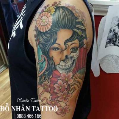 Hình xăm cô gái nhật geisha 28