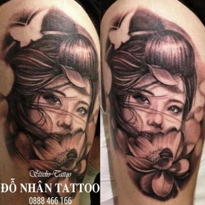 Hình xăm cô gái nhật geisha 3