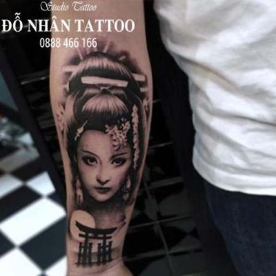 Hình xăm cô gái nhật geisha 8