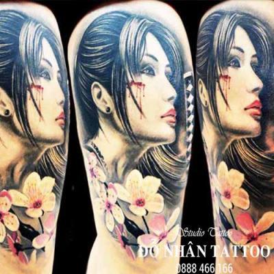 Hình xăm cô gái nhật geisha 9