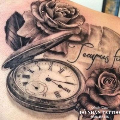 Hình xăm đồng hồ hoa hồng 1