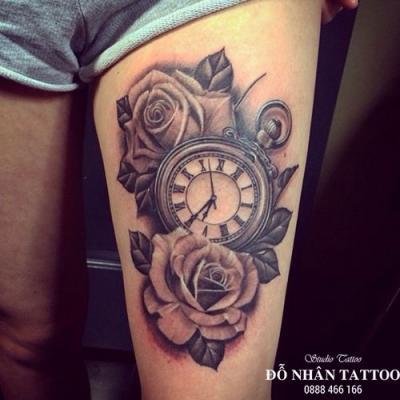Hình xăm đồng hồ hoa hồng 11