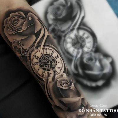 Hình xăm đồng hồ hoa hồng 15