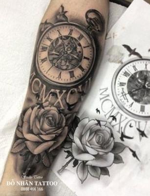 Hình xăm đồng hồ hoa hồng 18