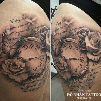 Hình xăm đồng hồ hoa hồng 20