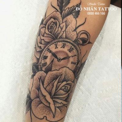 Hình xăm đồng hồ hoa hồng 21