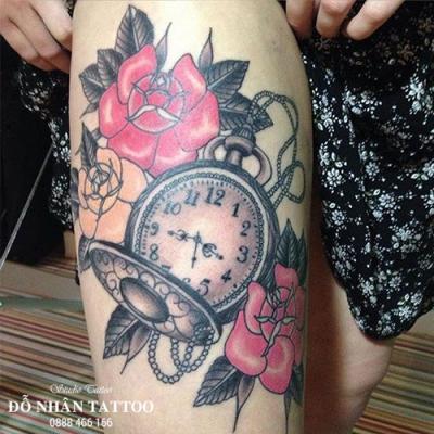 Hình xăm đồng hồ hoa hồng 3
