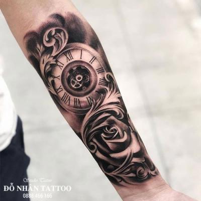 Hình xăm đồng hồ hoa hồng 43