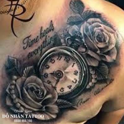 Hình xăm đồng hồ hoa hồng 45