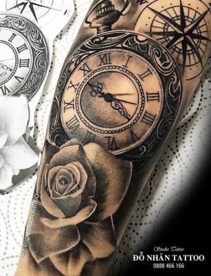 Hình xăm đồng hồ hoa hồng 46