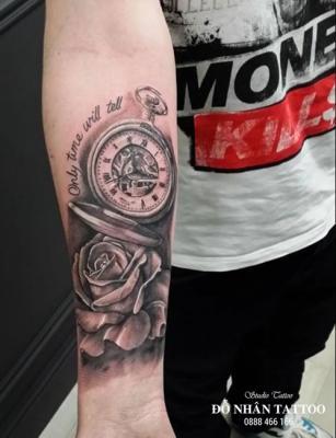 Hình xăm đồng hồ hoa hồng 47