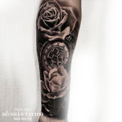 Hình xăm đồng hồ hoa hồng 49