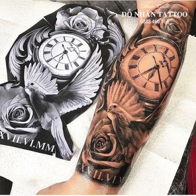 Hình xăm đồng hồ hoa hồng 5