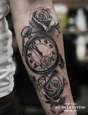 Hình xăm đồng hồ hoa hồng 52