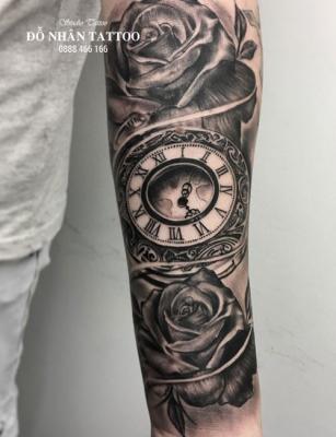 Hình xăm đồng hồ hoa hồng 56