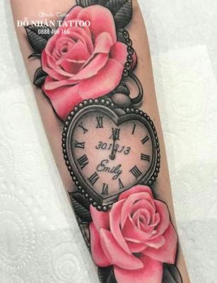 Hình xăm đồng hồ hoa hồng 57