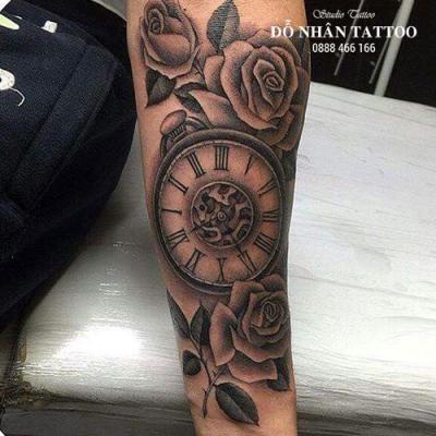 Hình xăm đồng hồ hoa hồng 6