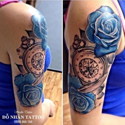 Hình xăm đồng hồ hoa hồng 61