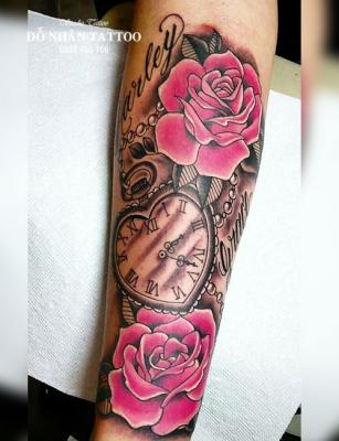 Hình xăm đồng hồ hoa hồng 62