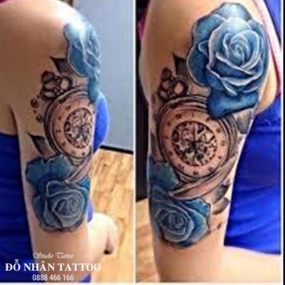 Hình xăm đồng hồ hoa hồng 64