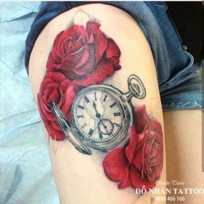 Hình xăm đồng hồ hoa hồng 69