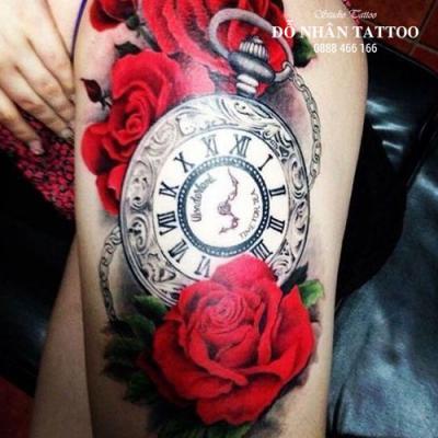 Hình xăm đồng hồ hoa hồng 7