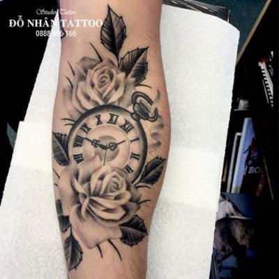 Hình xăm đồng hồ hoa hồng 71