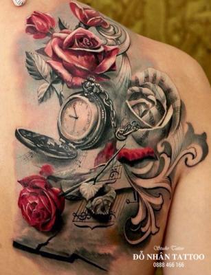 Hình xăm đồng hồ hoa hồng 72