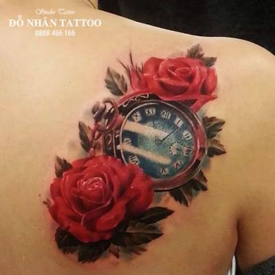 Hình xăm đồng hồ hoa hồng 73