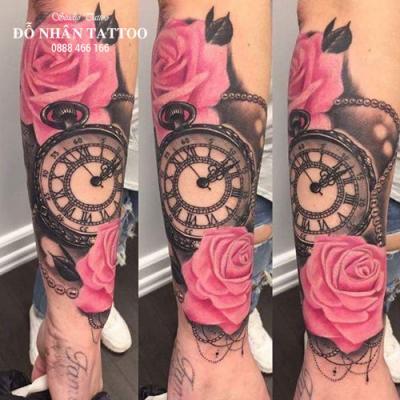Hình xăm đồng hồ hoa hồng 75