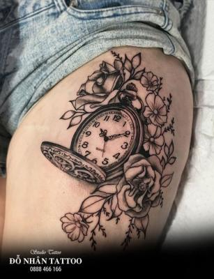 Hình xăm đồng hồ hoa hồng 76