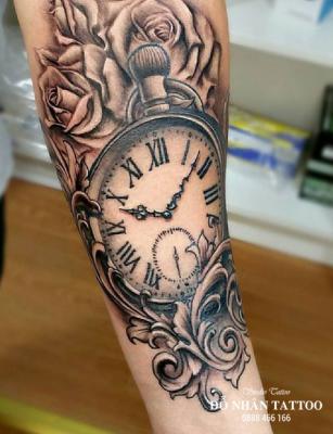 Hình xăm đồng hồ hoa hồng 8