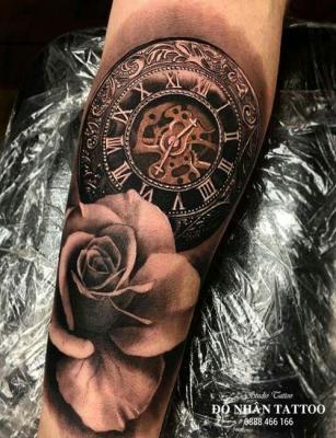 Hình xăm đồng hồ hoa hồng 4